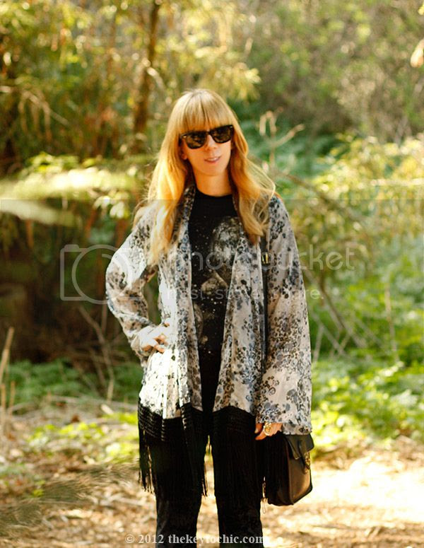 fringe kimono jacket, velvet bell bottoms, Los Angeles fashion blog, southern California style