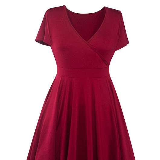 Plus Size Surplice Casual Dress, WINE RED, XL in Plus Size Dresses | DressLily.com