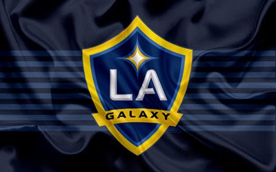 Download wallpapers Los Angeles Galaxy FC, American Football Club, MLS, Major League Soccer, emblem, logo, silk flag, Los Angeles, California, USA, football besthqwallpapers.com