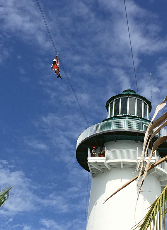 Ziplining at Norwegian Cruise Line's Harvest Cay in Belize. Photo Credit: TW photo by Tom Stieghorst