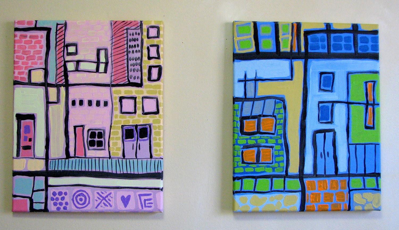 Children, Art, PINK CITY PAINTING, 11 x 14, Nursery Decor,Children, Art, Kid Art, Playroom Art