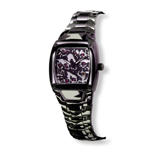 Lost Skulls :: Ladies' Watch in Black IP, Fire Red Rubies