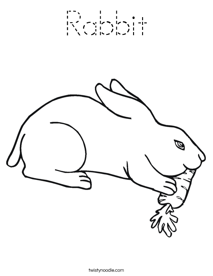 Rabbit Coloring Page - Tracing - Twisty Noodle
