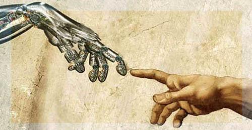 A imagem acima é um pouco remiscient deste transhumanismo imagem representando agora popular - o que empurra a fusão de humanos com robôs.