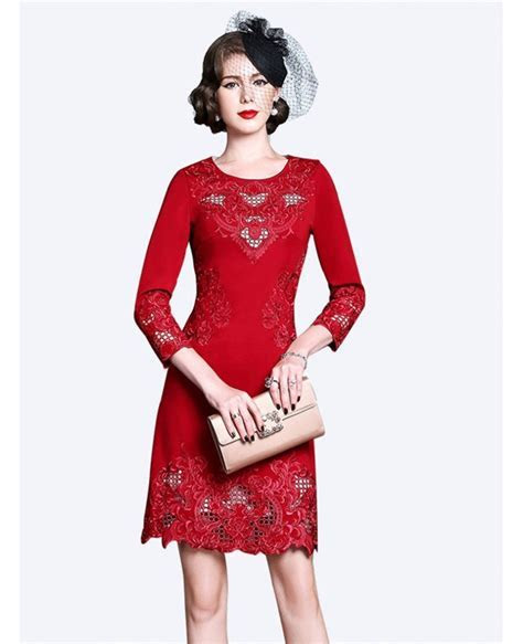 High end Embroidery Long Sleeve Party Dress For Women Over