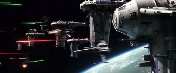 Resistance A-Wing and X-Wing fighters take on First Order forces in STAR WARS: THE LAST JEDI.