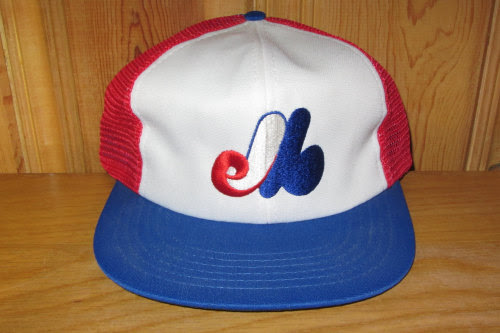 Montreal EXPOS Original Vintage 80s Official Licensed MLB Red Mesh Cap Trucker