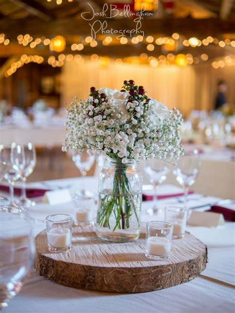 Image result for burgundy table cloths baby's breath mason