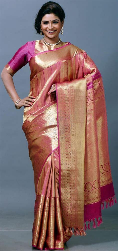Pink & Gold Kanchipuram Wedding Silk Saree {The Chennai