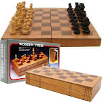 Trademark Games Wooden Book Style Chess Board with Staunton Chessmen