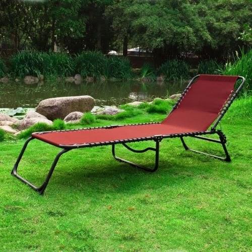 Chaise longue bain de soleil transat de jardin pliante - Chaise longue de camping pliante ...
