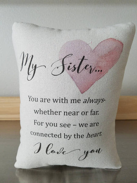 Sister Gift Pillow Happy Birthday Sis Cotton Ornament Sweet