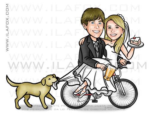 caricatura casal na bicicleta, caricatura noivinhos, caricatura personalizada, noiva na bicicleta, cachorro correndo atrás da bicicleta, by ila fox