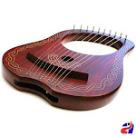 Rosewood Lyre Harp 10 Metal Strings Celtic with Bag and Tuning Key