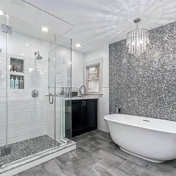 Home Architec Ideas Grey Bathroom Interior Design