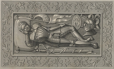 reclining knight in armour