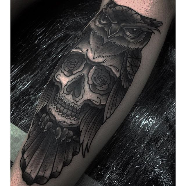 Owl Sugar Skull Back Of Calf Thanks Ritchie For Tattoo Bookings