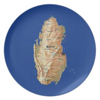 Qatar Map Plate