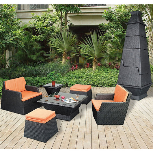 TR10002 Outdoor 4 Seater PAGODA Synthetic Rattan Stacking Set