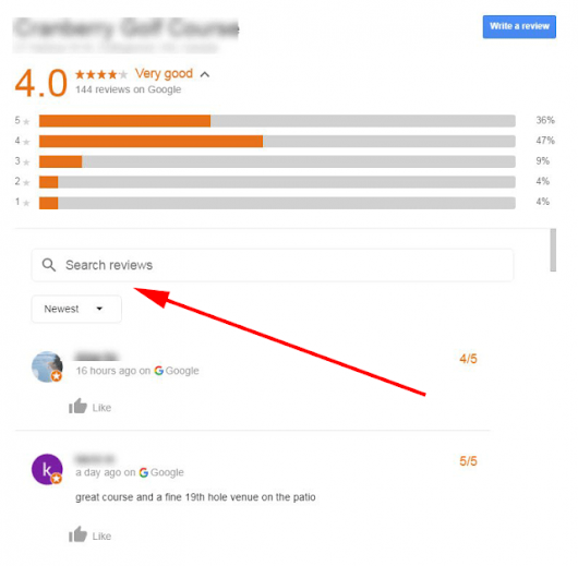 Google Testing Search Box For Local Reviews