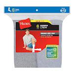 Hanes 185/6 Men's Cushion Crew Socks 6-Pack - Grey - 44117
