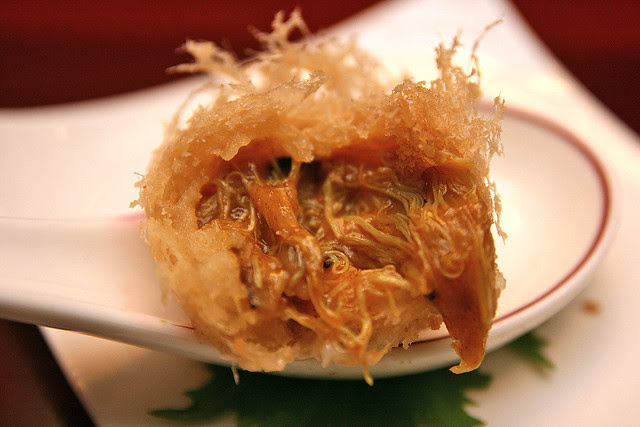 Deep-fried Pastry with Salted Egg, Mushroon, Onion and Curry Powder