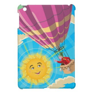 Girl in a balloon greeting a happy sun iPad mini case