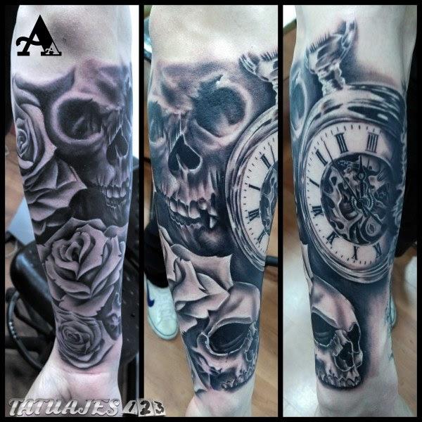 Composicion Reloj Calaveras Y Rosas Tatuajes 123