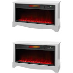 LifeSmart LifeZone Electric Infrared Quartz Standing Fireplace Heater, (2 Pack) by VM Express