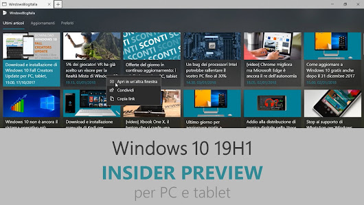 Download e novità di Windows 10 19H1 Insider Preview Build 18247