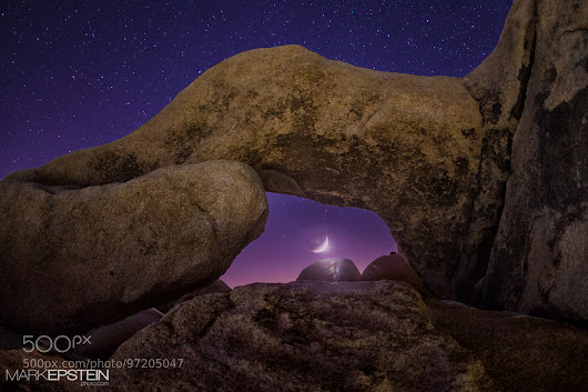 Crescent Moon in Arch Rock