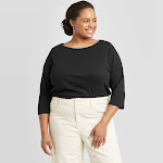 Women's Plus Size 3/4 Sleeve Boat Neck T-Shirt - A New Day Black 2X