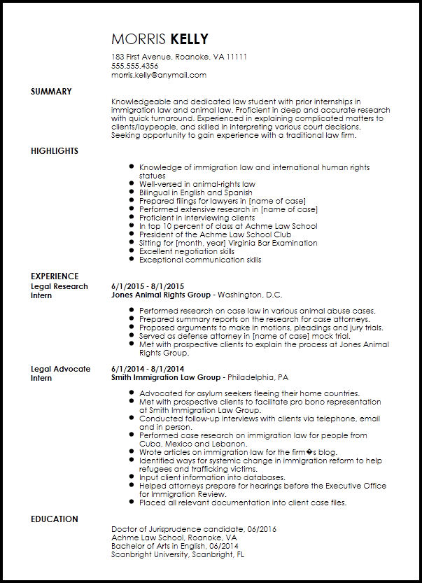 Free Traditional Legal Internship Resume Template Resume Now