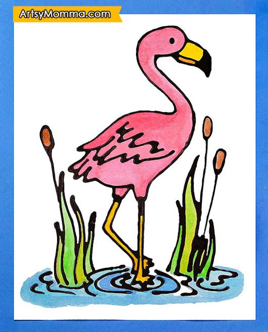 Pink Flamingo Craft Project Using Black Glue And Watercolors (Free Template)