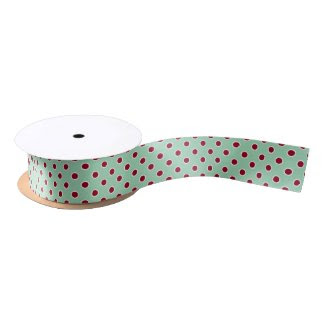 Dark Red Polka Dots on Mint Green Ribbon