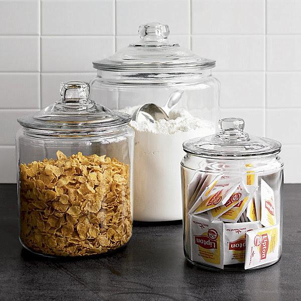 Retro-style lidded glass jars