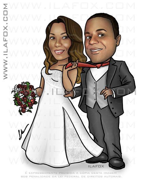 caricatura casal, corpo inteiro, casal negro, noiva negra, noivo negro, noiva puxando noivo pela gravata, caricaturas para casamento, ila fox
