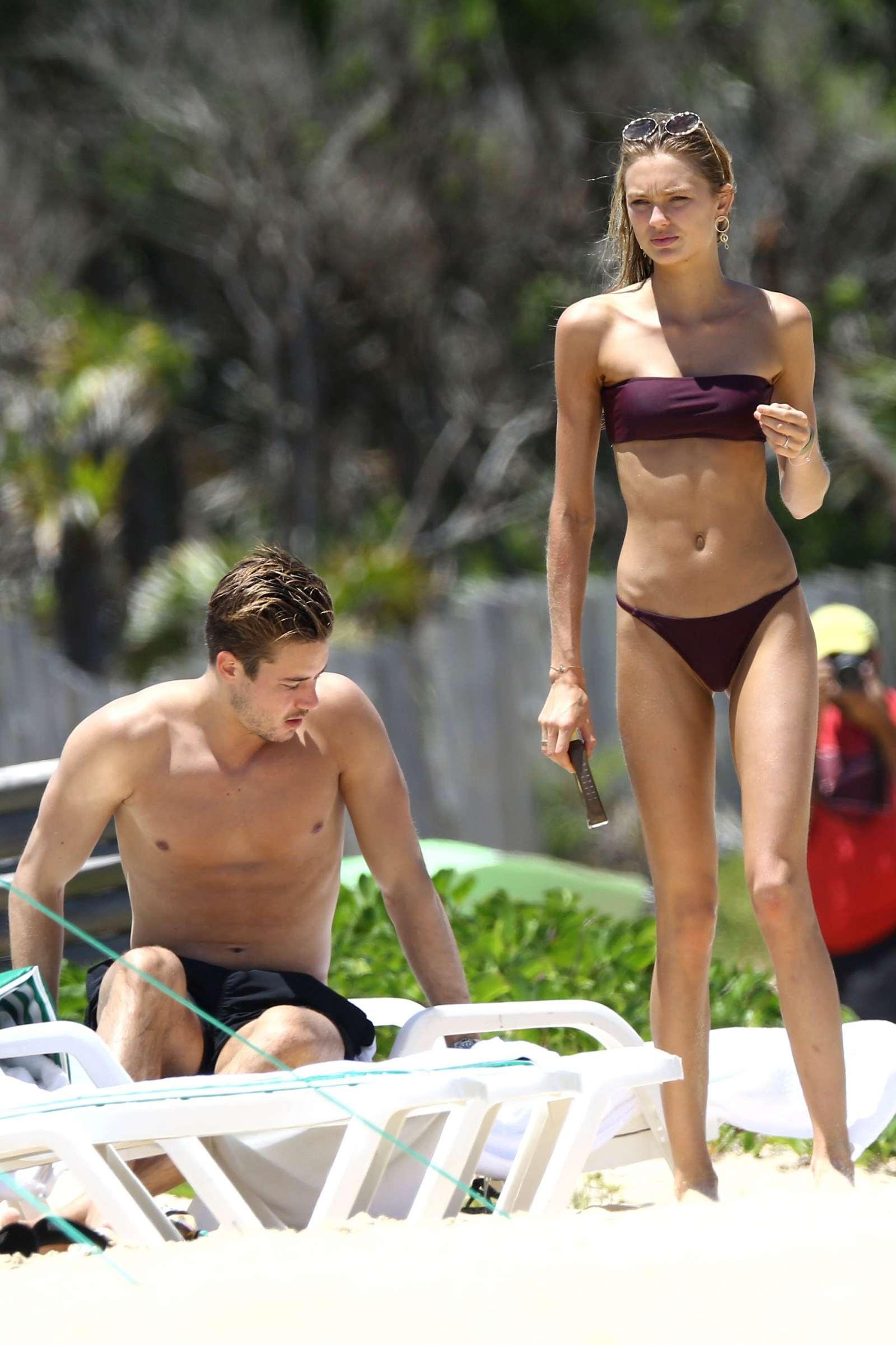 Romee Strijd in Bikini on the beach in Trancoso