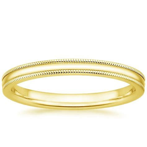 2mm Milgrain Wedding Ring in 18K Yellow Gold