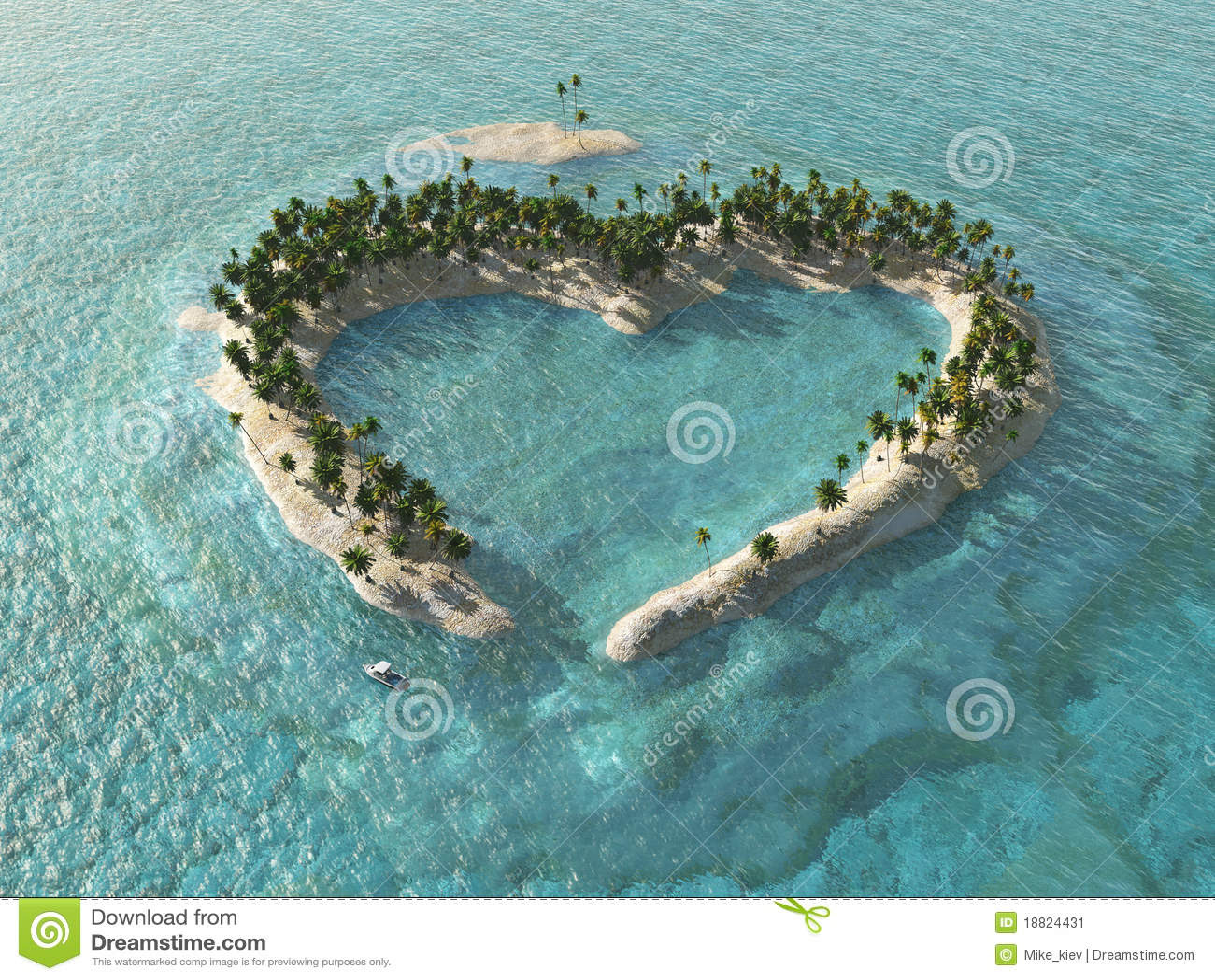 heart shaped tropical island 18824431