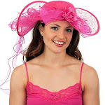 Jacobson Hat Company Fuchsia Southern Belle Kentucky Derby Colonial Western Lace