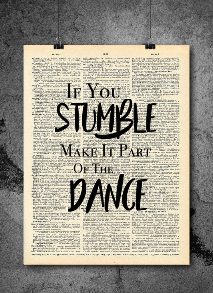 Stumble Dance Art Quotes Vintage Dictionary Wall Art Print