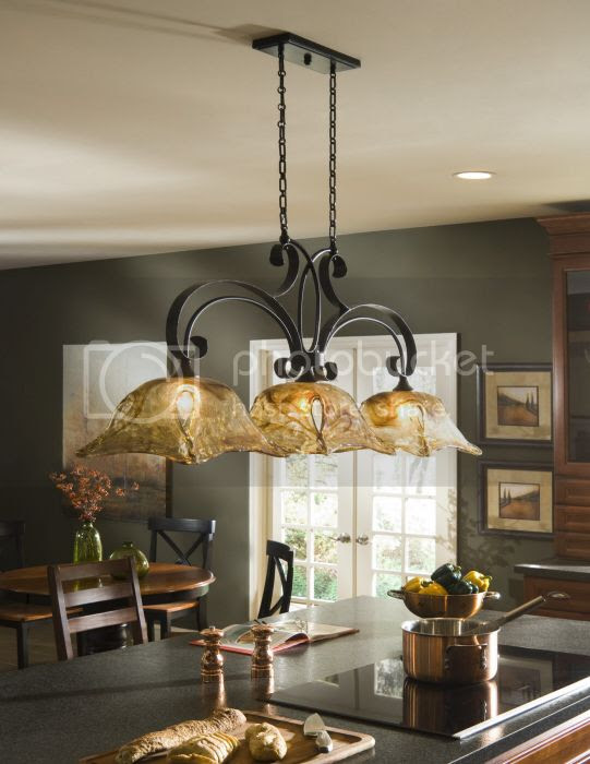 French Country 3 Light Chandelier Kitchen Island Pendant Iron
