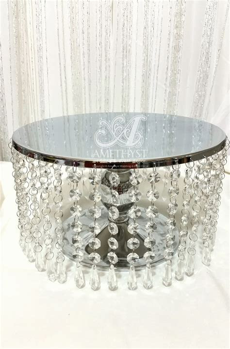 12 Inch (30cm) Metal   Crystals Cake Stand   $30diy