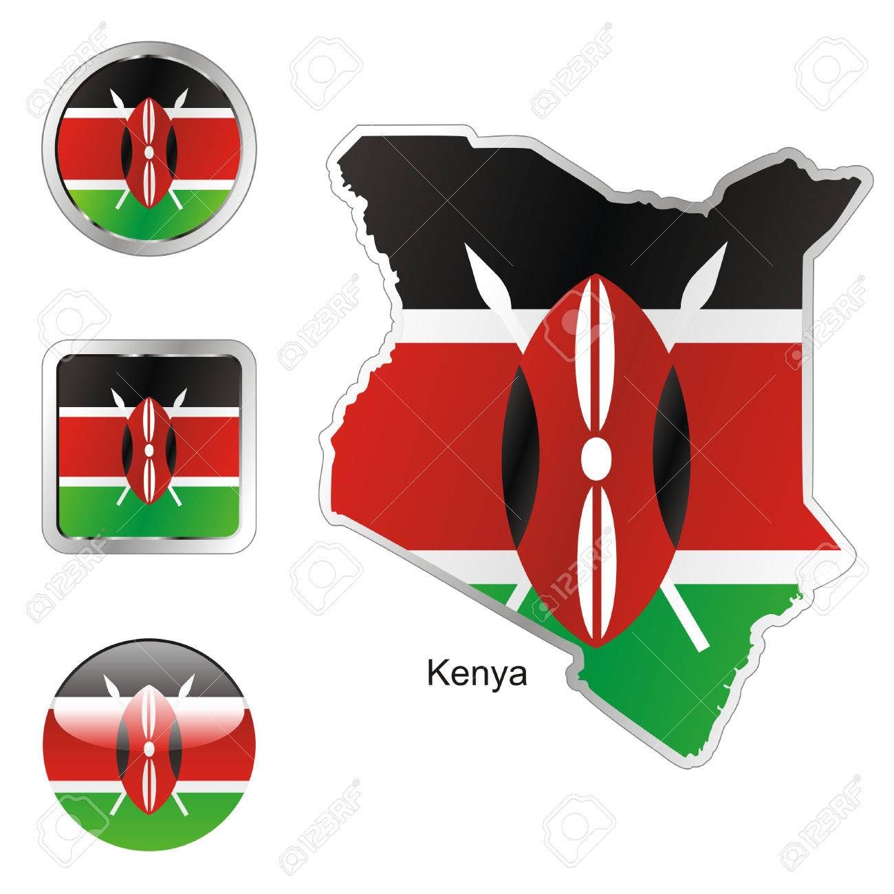 Fully Editable Flag Of Kenya In Map And Web Buttons Shapes Royalty ...