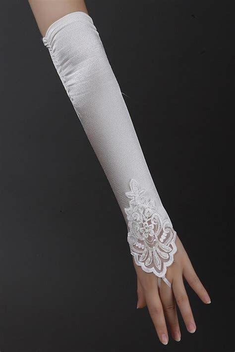 White/Ivory Fingerless Long Gloves Applique Satin Bridal