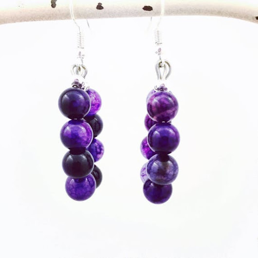 Purple earrings Purple statement earrings Purple hoop