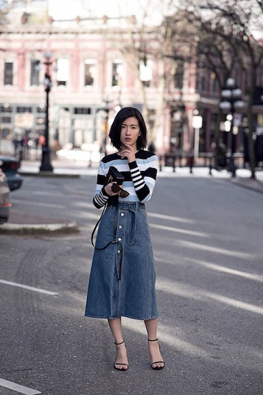 Le Fashion Blog Striped Long Sleeve Top Denim Midi Skirt Black Heels Via Von Vogue
