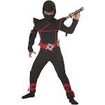 California Costumes Stealth Ninja Child Costume, Black/Red, Medium (8-10)