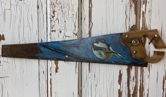 Handpainted original art painting on upcycled saw  Montana